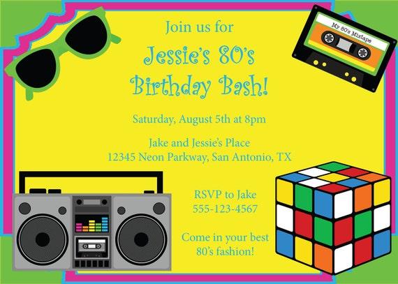 Ähnliche Artikel wie 80er Party Einladung Geburtstag Einladung 80er Jahre Party DIY druckbare ...