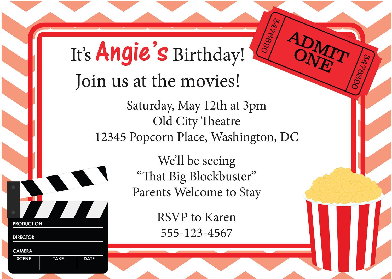 movie night invitation birthday invite diy by cowprintdesigns. Black Bedroom Furniture Sets. Home Design Ideas
