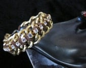 Double tone matte bronze/copper and gold chain rhinestone crystal statement bracelet brown suede - Fall 2012-Steampunk