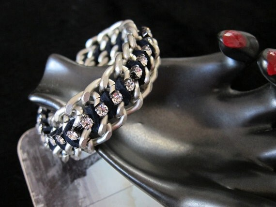 Double matte chain rhinestone crystal statement bracelet silver navy blue magnetic clasp-Steampunk