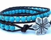 Leather Wrap Bracelet, Turquoise Blue Magnesite, Chan Luu Inspired, Cuff, Boho, Gemstone Leather Bracelet, Mothers Day Gift