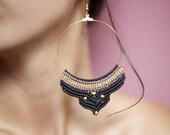 Macrame Earrings, Tribal Macrame Hoops, Statement Earrings, Bohemian Earrings, Macrame Jewelry