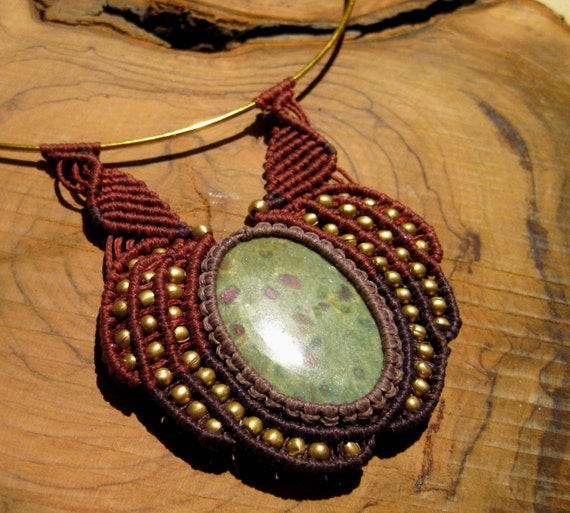 Ruby zoisite Pendant, Red and purple macrame necklace,Ethnic Necklace