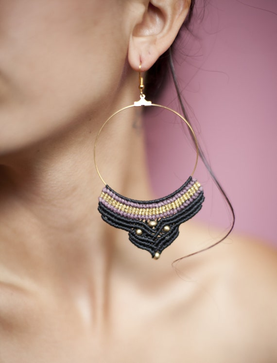 Macrame Earrings, Tribal Macrame Hoops, Statement Earrings, Bohemian Earrings, Macrame Jewelry
