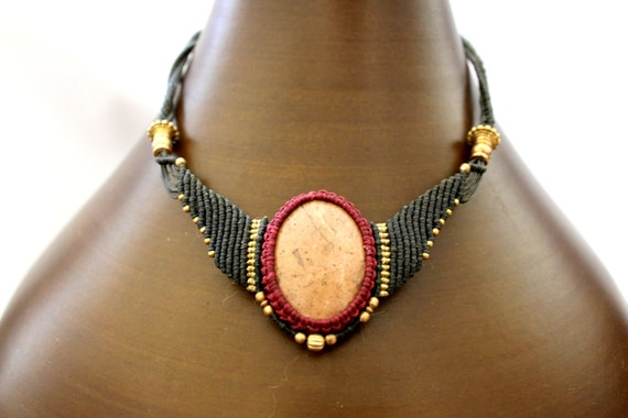 Macrame necklace with a Jasper pendant, dark green and red  wax threads, High-quality brass beads, tribal jewelry