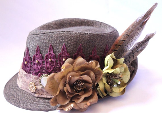 Fedora Hat,  Victorian Brown Hat, Steampunk Hat, Romantic Had Piece,wine colored  and beige Lace