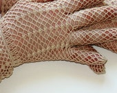 Vintage Style Crochet Lace Gloves, beige - free shipping