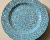 Turquoise Ceramic Plate with Delicate White Embossed Original Hand Painted Lace Design, Decorative and Functional