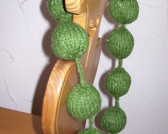 Hand Knitted ball necklace..