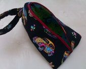VW Beetle/Paisley Spindle Bag/Knitting Notions Pouch/Project Bag, Lined, Zipped with Handle