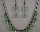 AB Lime Green Quartz Beads Necklace & Earrings Jewellery Set