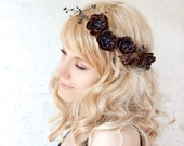 Floral crown, Brown flower headband. Leather floral hair band. Winter bridal, fall wedding, Woodland wedding hair accessory, Head wreath.