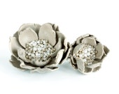 Flower hair clip - brooch and ring. Light gray leather with silver beads. Autumn fashion. Hair accessory.  Ring flower. oht rusteam ukrteam