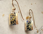 Item -21-japanese washi paper 14 karat gold earrings by heavenly cranes jewelry