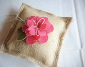 Custom order for Kendra. Burlap Ring Pillow with Flower.