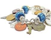 Blue mixed metal bracelet, upcycled sterling silver charm bracelet, vintage bracelet, mother's day , jetteam