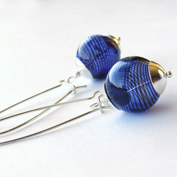 Sapphire blue earrings, cobalt striped bead & sterling silver dangle earrings, blue earings jetteam