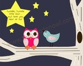 Nursery Print Twinkle Twinkle Little Star 8x10 owl and bird print
