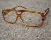 """80s Sci-Fi Nerd Glasses - Vintage """"Garzell"""" Amber Tortoiseshell Frames"""