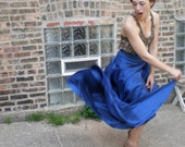 Vintage Sapphire Blue Skirt - Dramatic Ruffled Extra-Long w/ Slit Sexy Spanish Dancer M