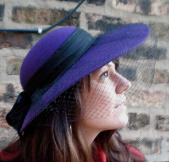 Vintage Wool Felt Hat - Violet & Black Wide-Brim w/ Netting FILM NOIR