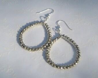 Silver Pyrite and Sterling Silver Teardrop Dangle Hoop Earrings