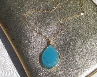 Turquoise Quartz Teardrop Pendant with Gold Chain Necklace