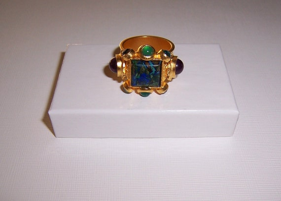 Vintage, Jeweled Square Roman Style, Cocktail Ring,18K Gold Plated, Azurite, Amethyst, Semi Precious Stones