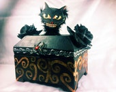 OOAK - Primitive Halloween Treat Box - Handpainted Original Artwork - Featuring a cool cat, a spider, and a ghostly graveyard