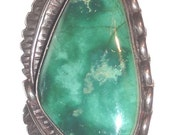 SOLD TO S~    Navajo Large Vintage Deep Sea Green Turquoise Silver Pin Brooch Pendant