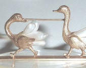 Reserved for E          Vintage 14K Gold Pearl Ostrich Romance Race Love Birds Pin Brooch 19.9 Gr