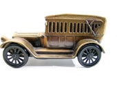 Vintage Antique Car Bank 1970s toy WOW