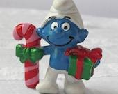 Vintage Christmas Smurf Figurine
