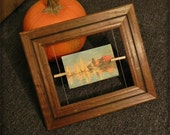 Wood Picture frame, wire, clothes pins, redesigned, rustic, unique