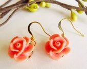 Orange Flower Earringsflower earrings sweet 16 feminine pretty all occasions great gift great buy.