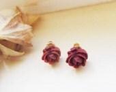 Flower Earring Maroon Little Tiny  Cabbage Rose Post earringsSweet 16 EarringsGreat GiftsHolidaysAdorable