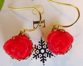 Floral red cabbage earrings- red cabbage rose dangle earrings- So sweet and adorable-great Christmas holiday gift