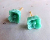 Seafoam floral stud earrings-Little Tiny flower Post earrings- So sweet and adorable- holiday gift)