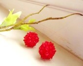 Red clustered Floral Stud Earrings -Flower Earring Post- -