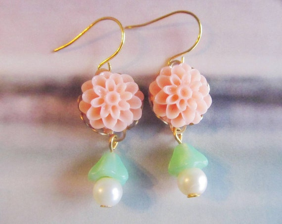 Lilian Pretty Coral Flower  Earrings with Seafoam Cone Embracing off White Pearls,Nice for Sweet 16,Feminine Pretty,Fits all Occasions