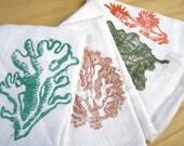 Sea Flora/ Coral Linen Napkins - Set of 4 - Hand Printed - Cloth Napkins