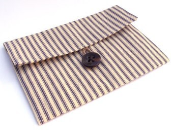 SALE- Blue French Ticking Clutch with Tortoise Shell Button- Free Shipping
