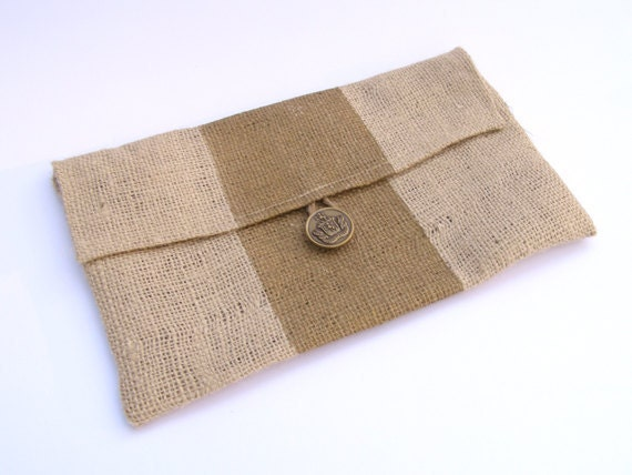 SALE- Burlap Clutch with Metallic Gold Stripe and Brown Quatrefoil Liner- FREE SHIPPING