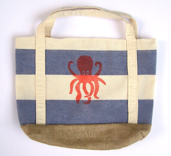SALE- Blue and Cream Nautical Striped Tote Bag with Octopus Block Print