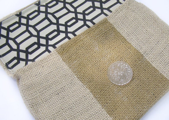Mini Burlap Clutch with Metallic Gold Stripe and Black and White Latticework Liner