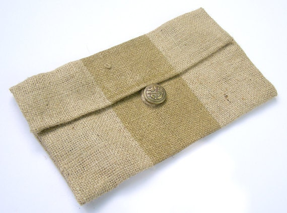 SALE- Burlap Clutch with Metallic Gold Stripe and Bright Floral Liner- FREE SHIPPING