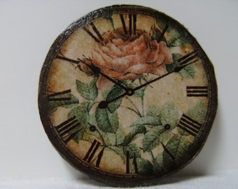 "Dollhouse Miniature Wall Clock, ""Victorian Rose"", Scale One Inch, TREASURY LIST"