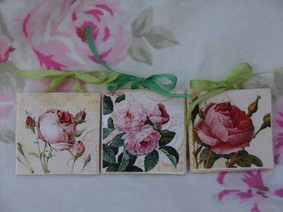 "Dollhouse Miniature Artwork ""Shabby Chic Rose Garden"", One Inch Scale, TREASURY LIST"