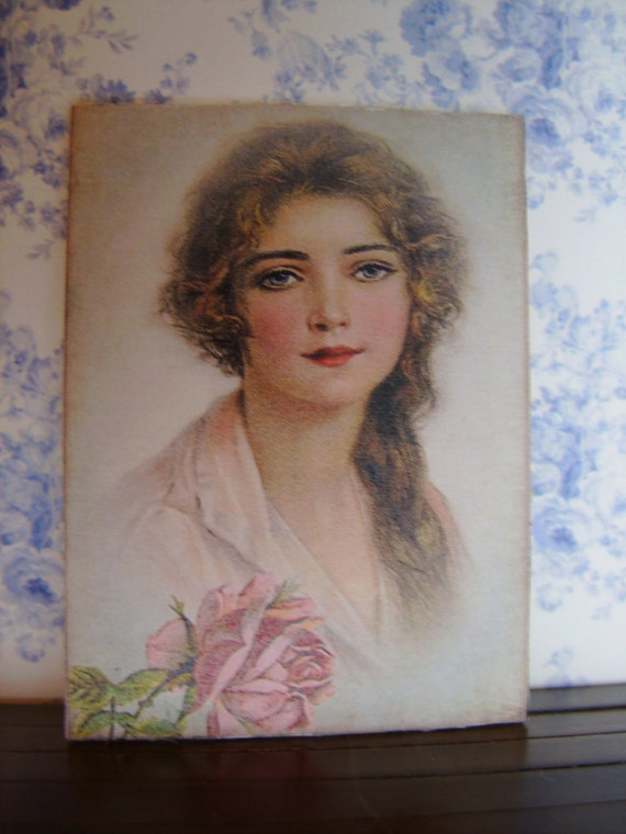 "Dollhouse Miniature Artwork  ""Woman in Pink"", One Inch Scale, 2 TREASURY LISTS"