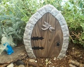 Miniature Fairy Door faux wood and granite frame, has wire stems for secure placement in your outdoor garden or indoor terrarium
